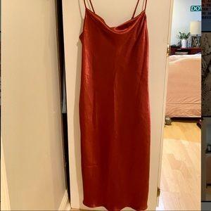 Lulu's Satin Cowl Neck Slip Dress